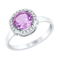 Серебряное кольцо с аметистами и фианитами