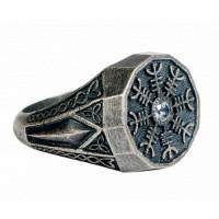 Серебряное кольцо мужское с сапфирами 4ТРН-1-1Сспб