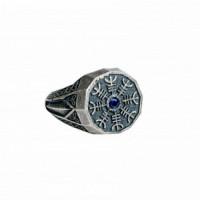 Серебряное кольцо мужское с сапфирами 4ТРН-1-1Сспс