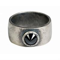 Серебряное кольцо мужское с сапфирами 4ТРН-1-3С