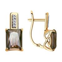 Золотые серьги с ситалом и фианитами ДИ725737