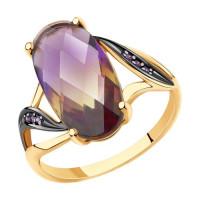 Золотое кольцо с ситалом и фианитами ДИ715687
