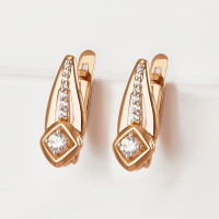 Золотые серьги с фианитами ЮПС13210072
