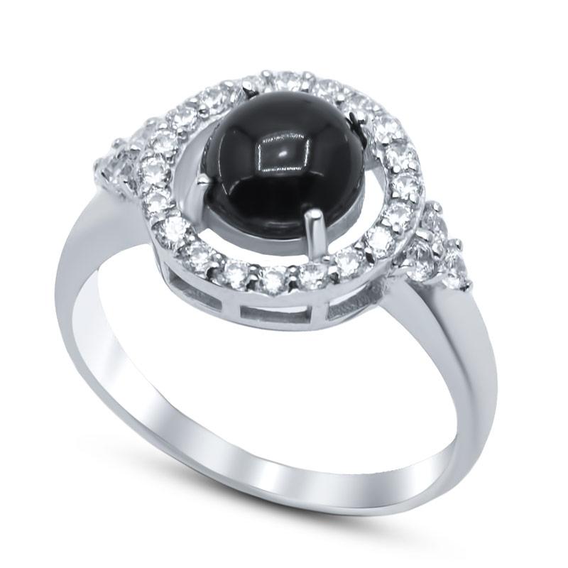 Серебряное кольцо с ониксами и фианитами СЫ21ЕРАФА01335Б19