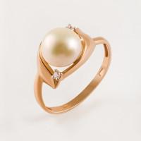 Золотое кольцо с жемчугом и фианитами ПЭ1901973Р
