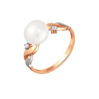 Золотое кольцо с жемчугом и фианитами