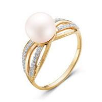 Золотое кольцо с жемчугом и фианитами ДП110924