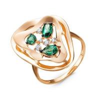 Золотое кольцо с кварцем плавленым и фианитами ДП314498