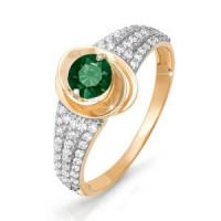 Золотое кольцо с кварцем и фианитами ДП311026