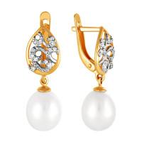 Золотые серьги подвесные с жемчугом и фианитами ПЭ2901771Р