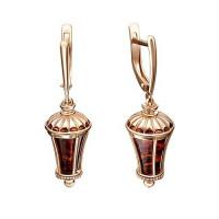 Золотые серьги подвесные с янтарем