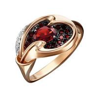 Золотое кольцо с гранатами и топазами