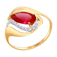Золотое кольцо с корундами и фианитами ДИ714706