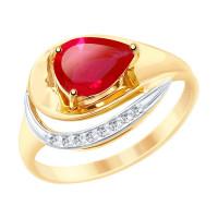Золотое кольцо с корундами и фианитами ДИ715242