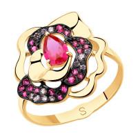 Золотое кольцо с корундами и фианитами ДИ715460