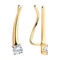 Золотые серьги протяжки с фианитами ДИ028615