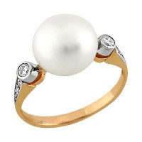Золотое кольцо с жемчугом и фианитами НА3.10.11.0275.14-1556