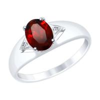 Серебряное кольцо с гранатами и фианитами ДИ92011505