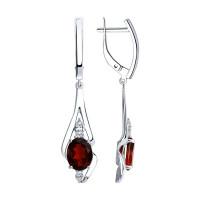 Серебряные серьги подвесные с гранатами и фианитами ДИ92022253