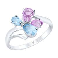 Серебряное кольцо с топазами и аметистами