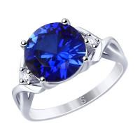 Серебряное кольцо с корундами сапфирами и фианитами ДИ88010053