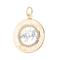 Золотой знак зодиака «телец» с фианитами ГГКРБВПФТелец