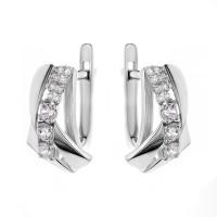 Серебряные серьги с фианитами РОС-3767-Р