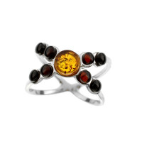 Серебряное кольцо с янтарем 5УР2988Рмикс