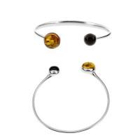 Серебряный браслет с янтарем 5УВ3046Рмикс