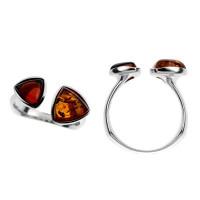 Серебряное кольцо с янтарем 5УР3269Рмикс