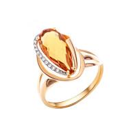 Золотое кольцо с ситаллами султанитами и фианитами