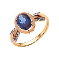 Золотое кольцо с ситаллами топазами и фианитами НА1.10.10.0751.00-2786