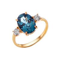 Золотое кольцо с ситаллами топазами и фианитами НА1.10.10.0726.00-1871
