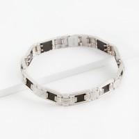 Серебряный браслет мужской с ониксами и фианитами РЫ4001550С