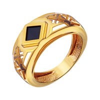 Золотая печатка с ониксами РЫ1534350