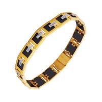 Золотой браслет мужской с ониксами и фианитами РЫ4002150
