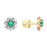 Золотые серьги гвоздики с агатами и фианитами ДИ725783