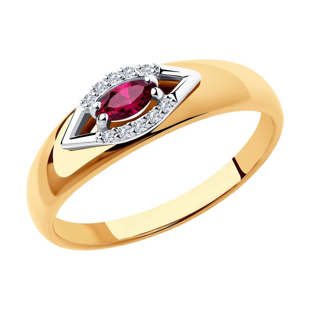 Золотое кольцо с рубинами и бриллиантами ДИ4010603