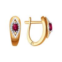 Золотые серьги с рубинами и бриллиантами ДИ4020364