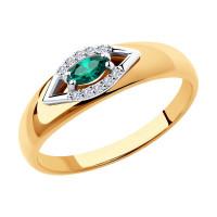 Золотое кольцо с изумрудами и бриллиантами ДИ3010525