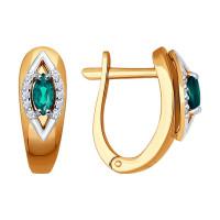 Золотые серьги с изумрудами и бриллиантами ДИ3020402