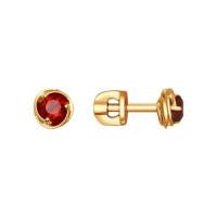 Золотые серьги гвоздики с гранатами ДИ724587