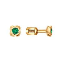 Золотые серьги гвоздики с изумрудами ДИ3020263