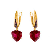Золотые серьги подвесные с корундами рубинами синтами и фианитами НА1.20.12.3379.00-3412