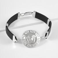 Каучуковый браслет с серебряной вставкой
