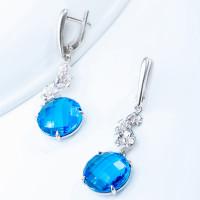Серебряные серьги подвесные с ювелирным стеклом ЮХАС14