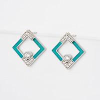 Серебряные серьги гвоздики с фианитами ДИ94024215