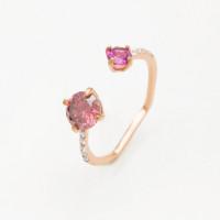 Золотое кольцо с родолитами и фианитами ЛБ1007824