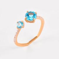 Золотое кольцо с топазами и фианитами ЛБ1007812