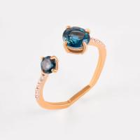 Золотое кольцо с топазами и фианитами ЛБ1007813